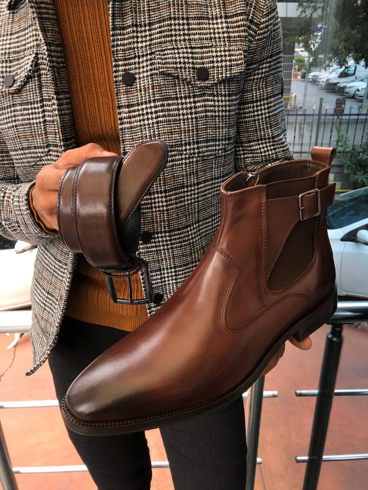 Chelsea Buckle Detail With Classic Leather Boots Brown