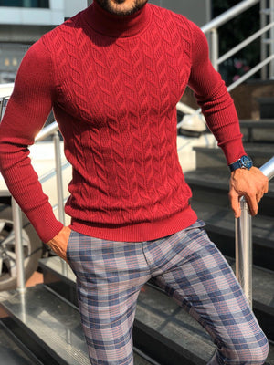 Calvin Slim-Fit Turtleneck Knitwear Red