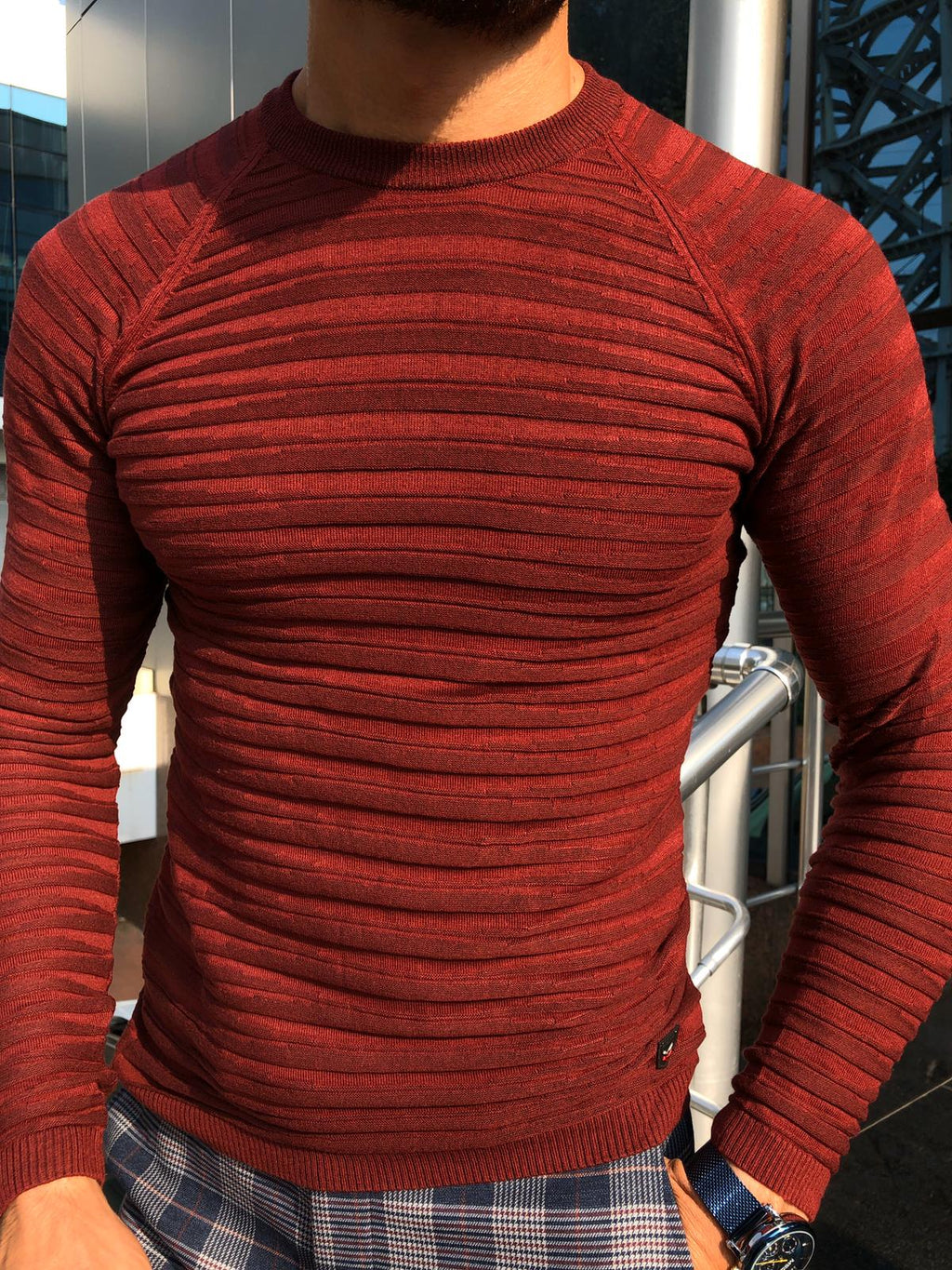 Slim-Fit Patterned Knitwear Claret-Red