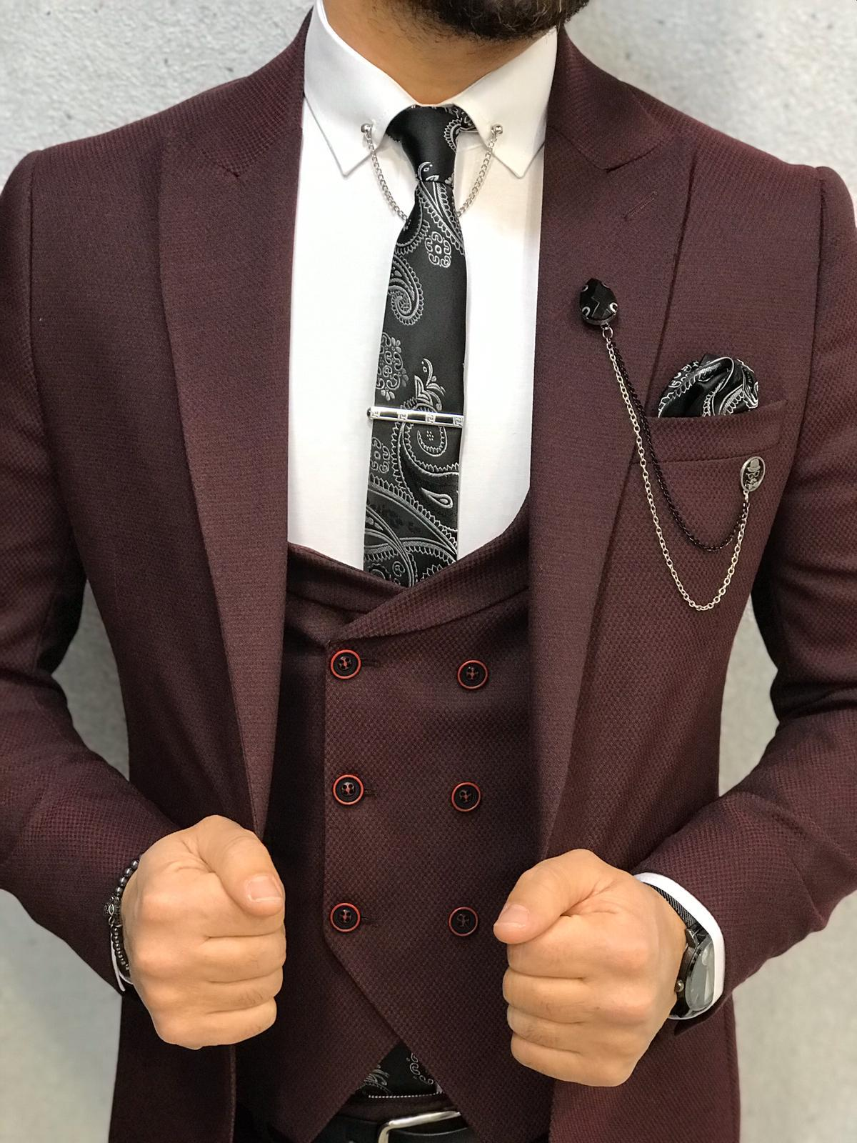 Ani Claret Red Slim Fit Wool Suit