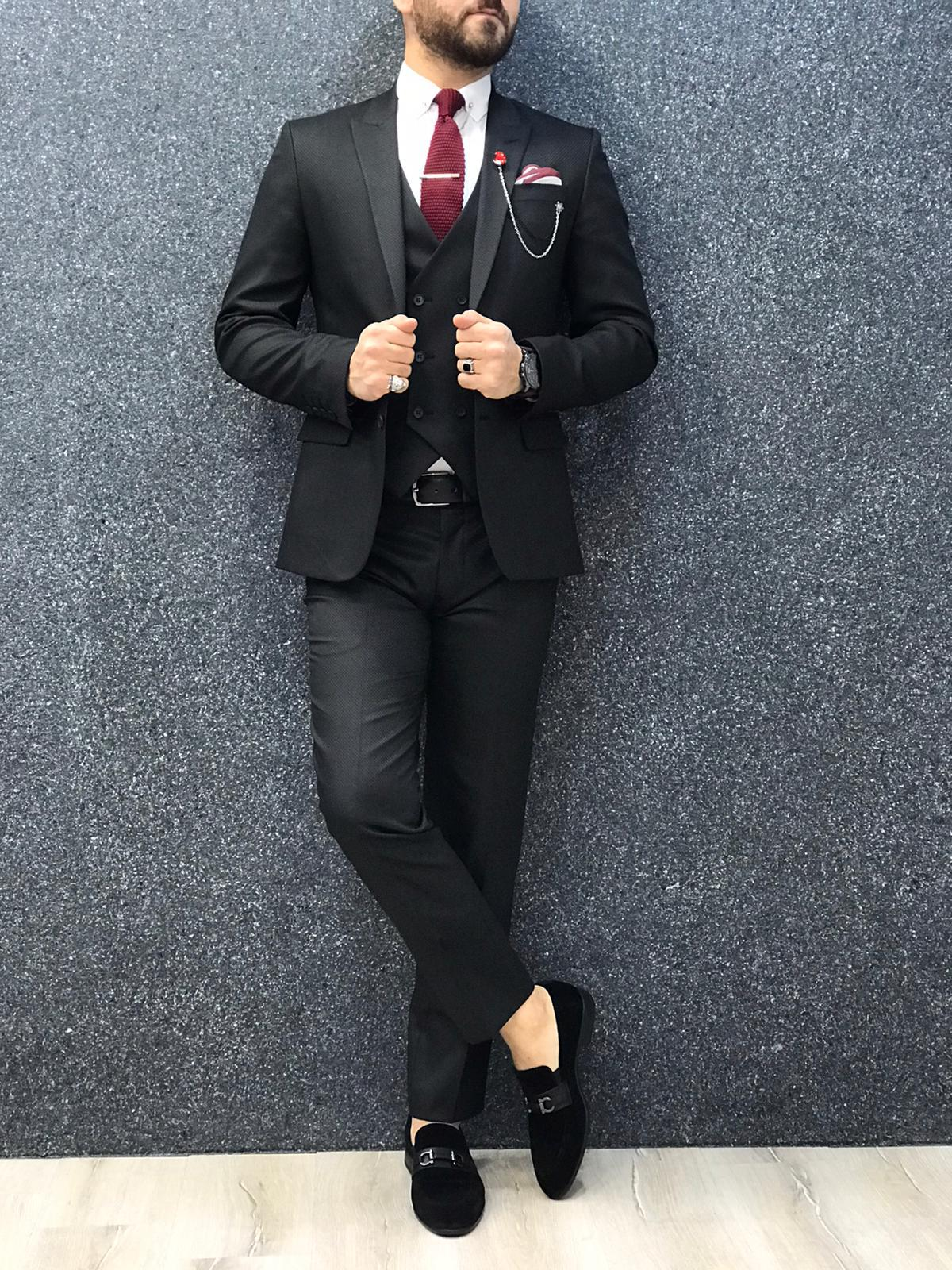 Ani Black Slim Fit Wool Suit