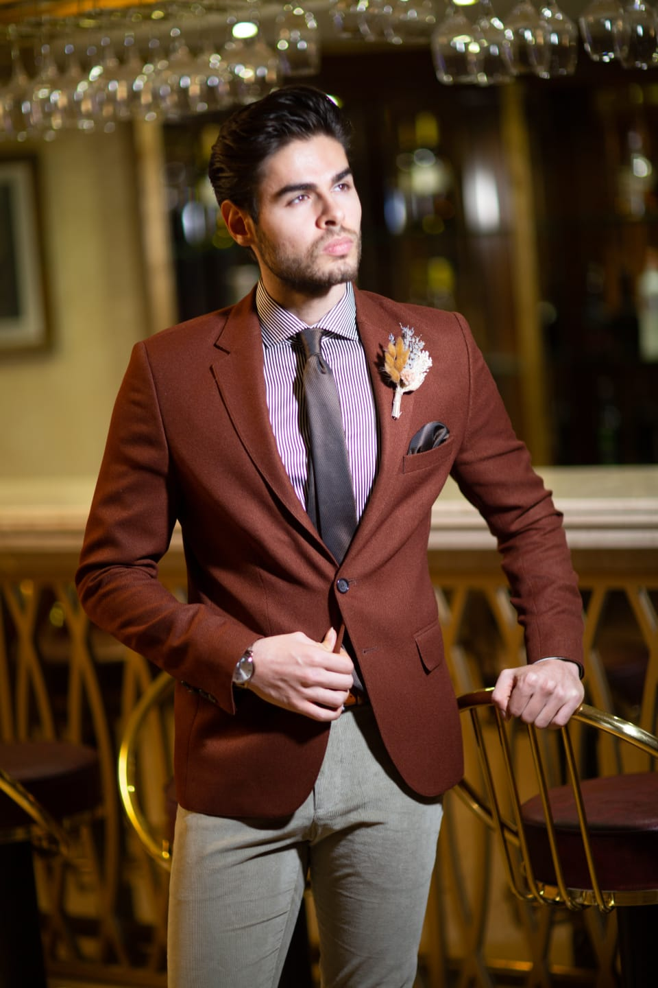 Belka Slim-Fit Blazer Brown