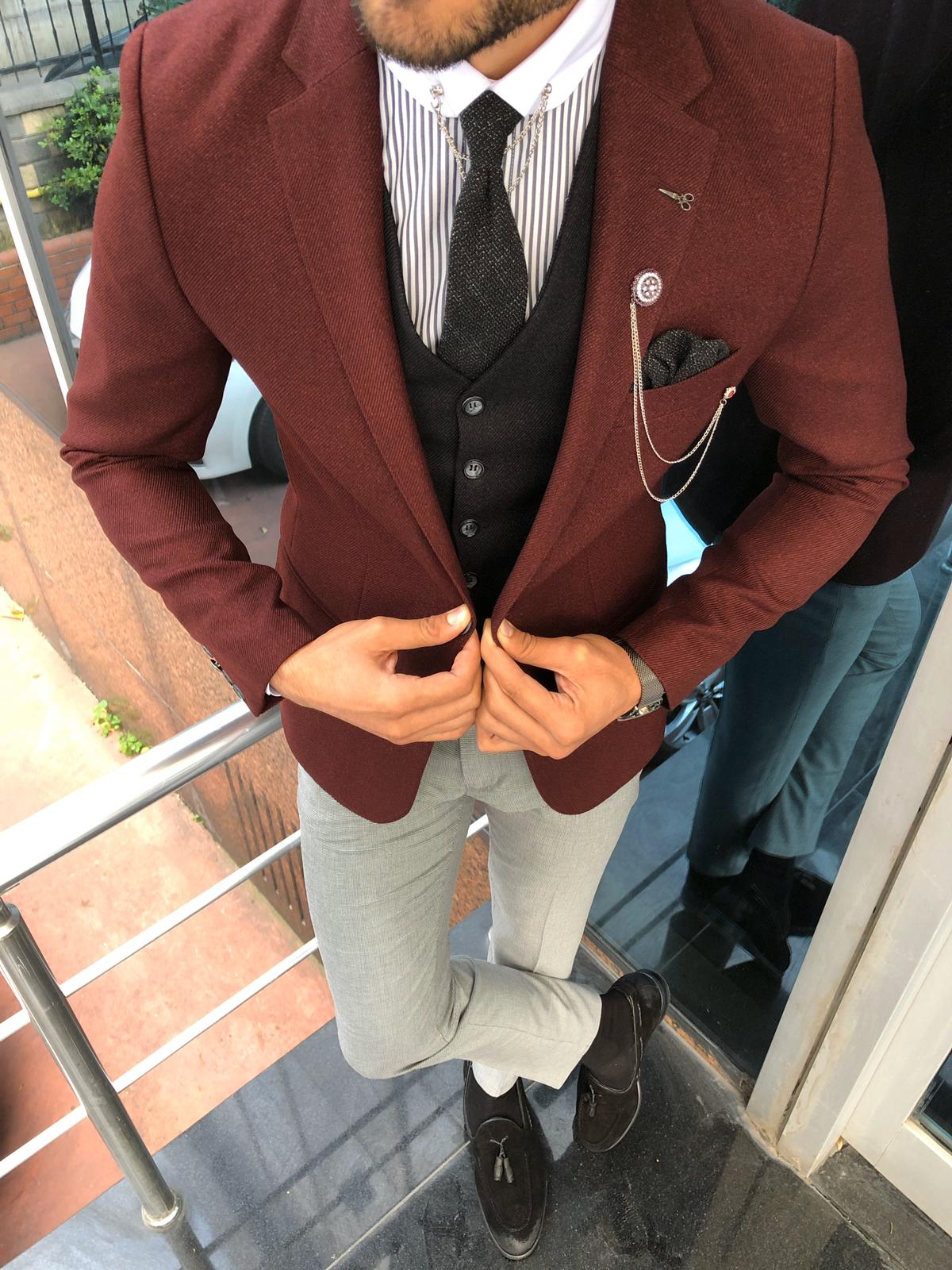 Multi Slim-Fit Suit Vest Claret Red