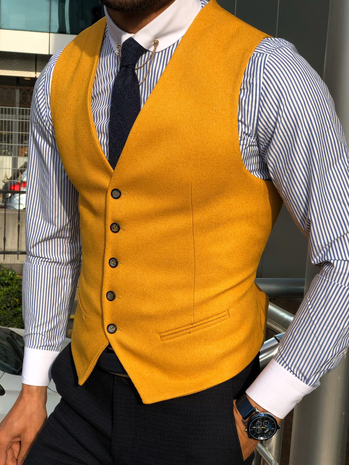 Slim-Fit Cotton Waist Coat MUSTARD