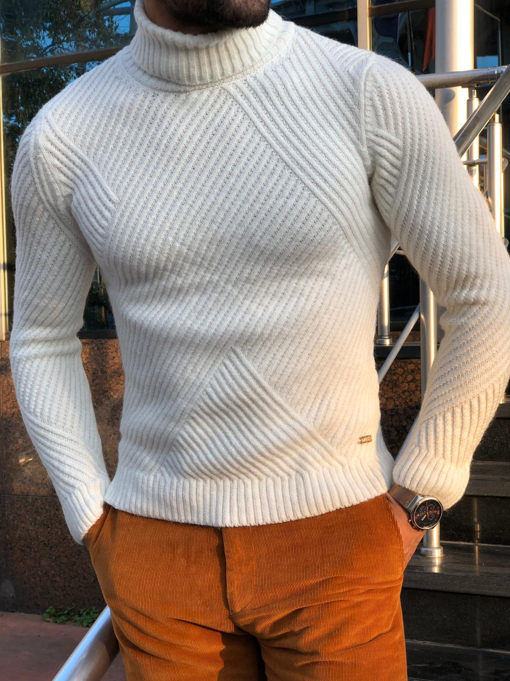 Capstone Ecru Slim Fit Turtleneck