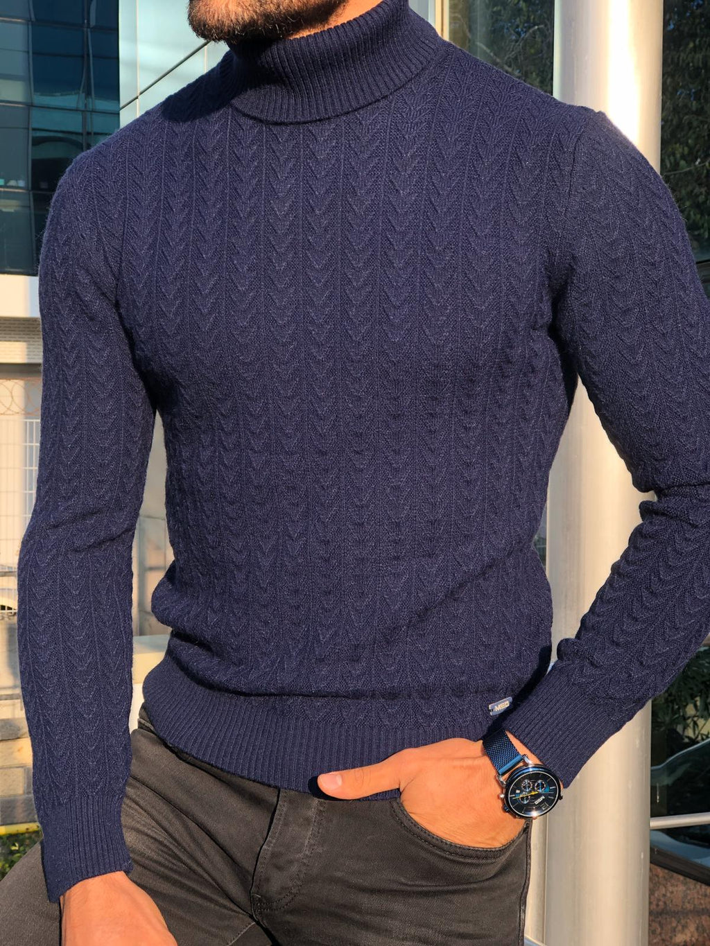 Heritage Navy Slim Fit Turtleneck