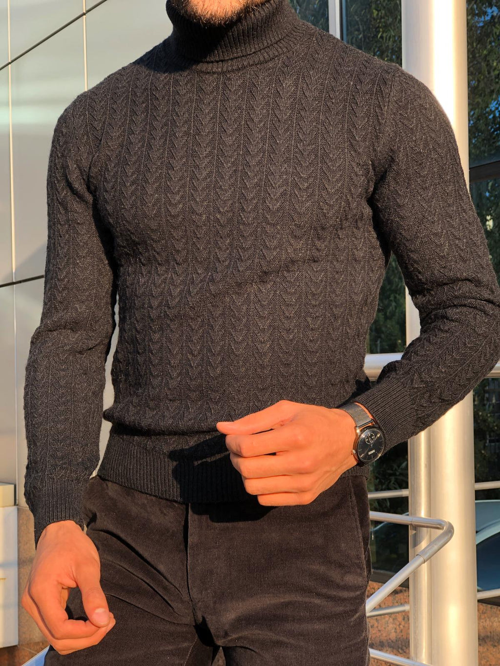 Heritage Black Slim Fit Turtleneck