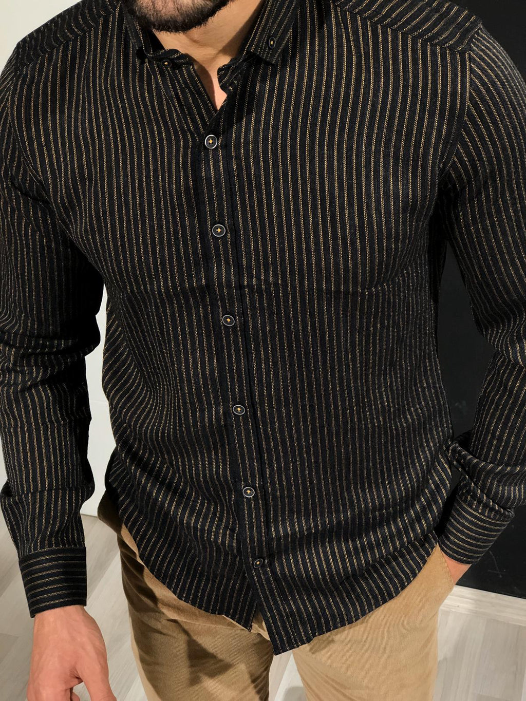 Ladalii Slim-Fit Striped Shirt black