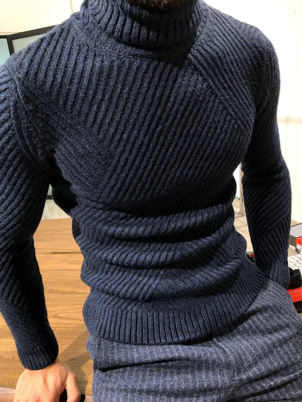Ponto Slim-Fit Wool Turtleneck Knitwear Navy