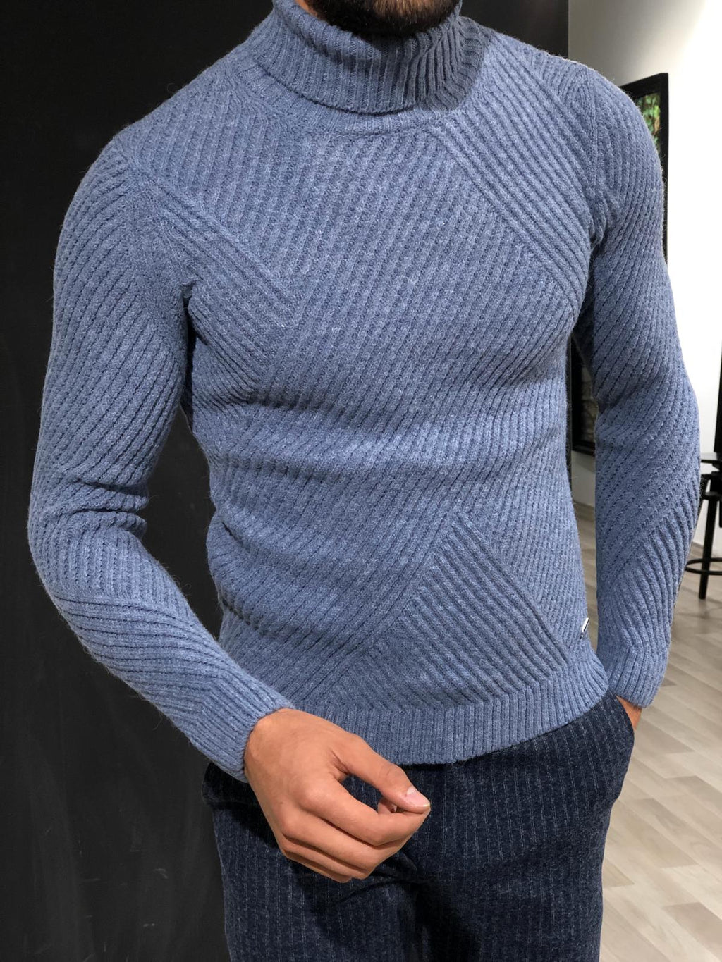 Ponto Slim-Fit Wool Turtleneck Knitwear Blue
