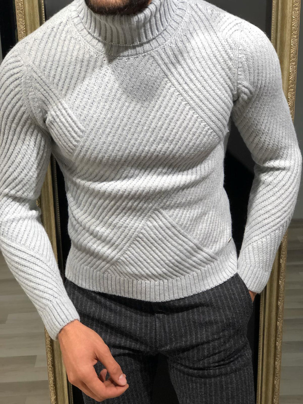 Ponto Slim-Fit Wool Turtleneck Knitwear Grey