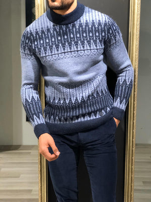 Tommy Slim-Fit Wool Half Turtleneck Knitwear Blue