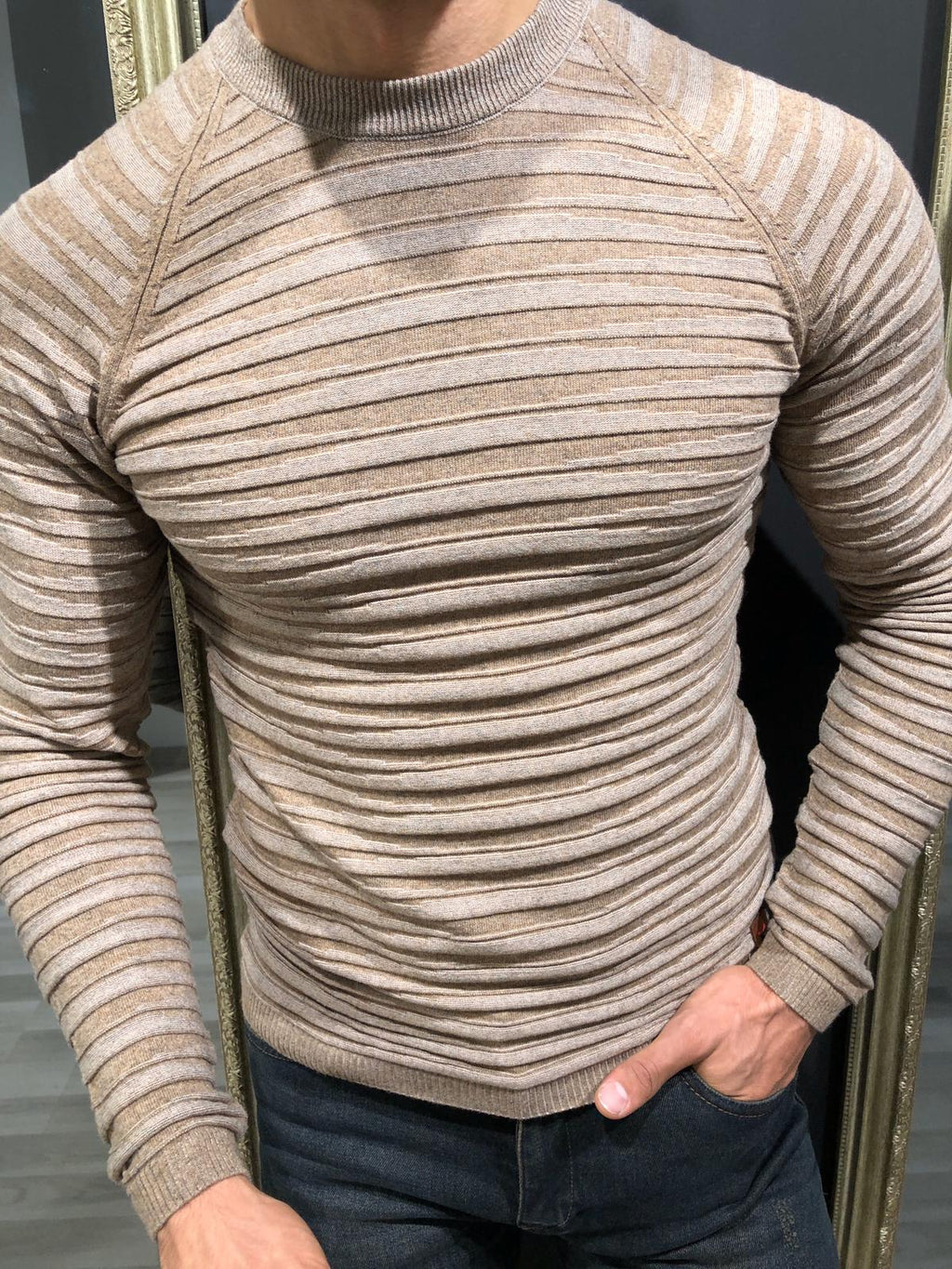 Slim-Fit Patterned Knitwear Beige