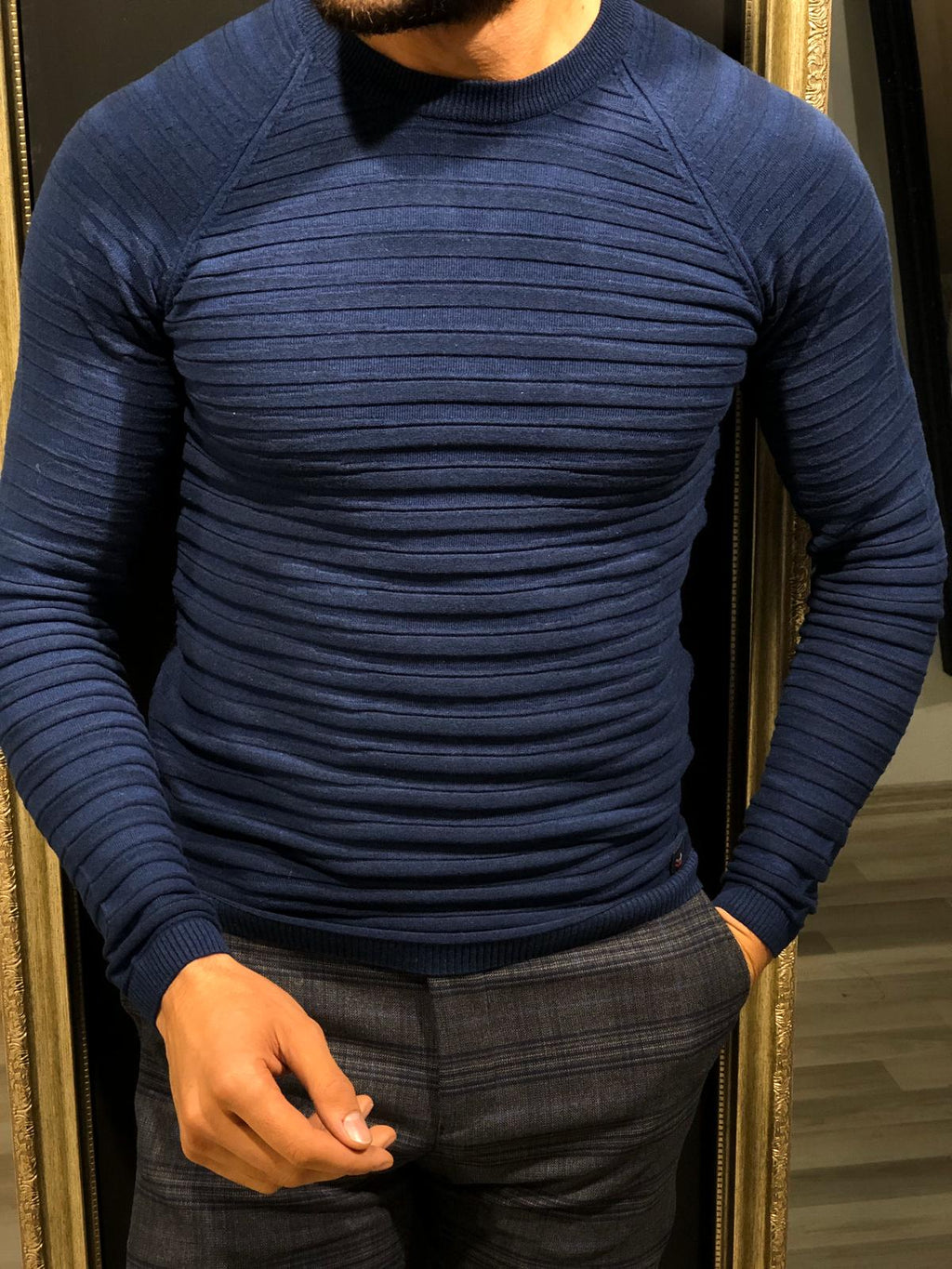 Slim-Fit Patterned Knitwear Navy