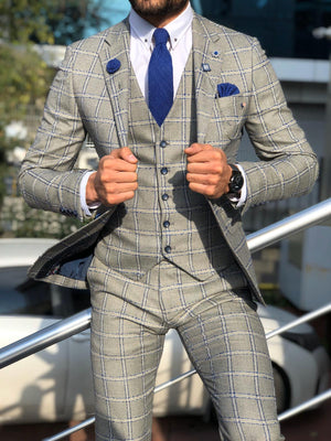 Toni Slim-Fit Plaid Suit Vest GRAY