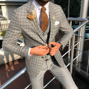 Toni Slim-Fit Plaid Suit Vest CAMEL