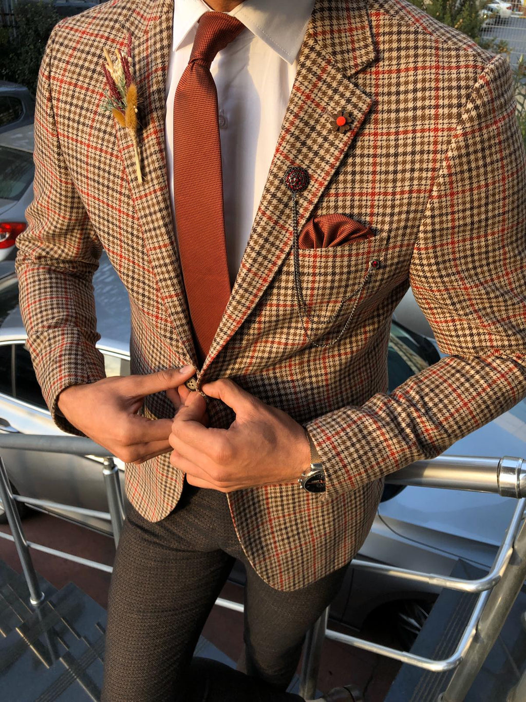 Dandalosh Slim-Fit Plaid Wool Jacket Beige