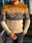 Torino Slim-Fit Wool Patterned Knitwear Beige