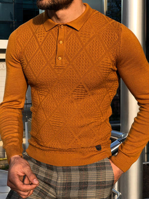Calvin Slim-Fit Polo Collar Knitwear Sweater Camel