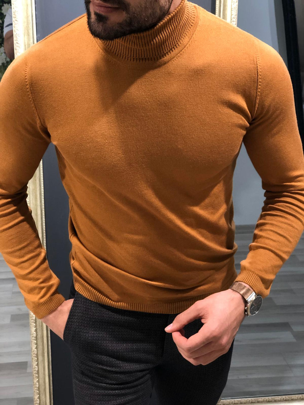 Rimini Slim-Fit Turtleneck Knitwear Camel