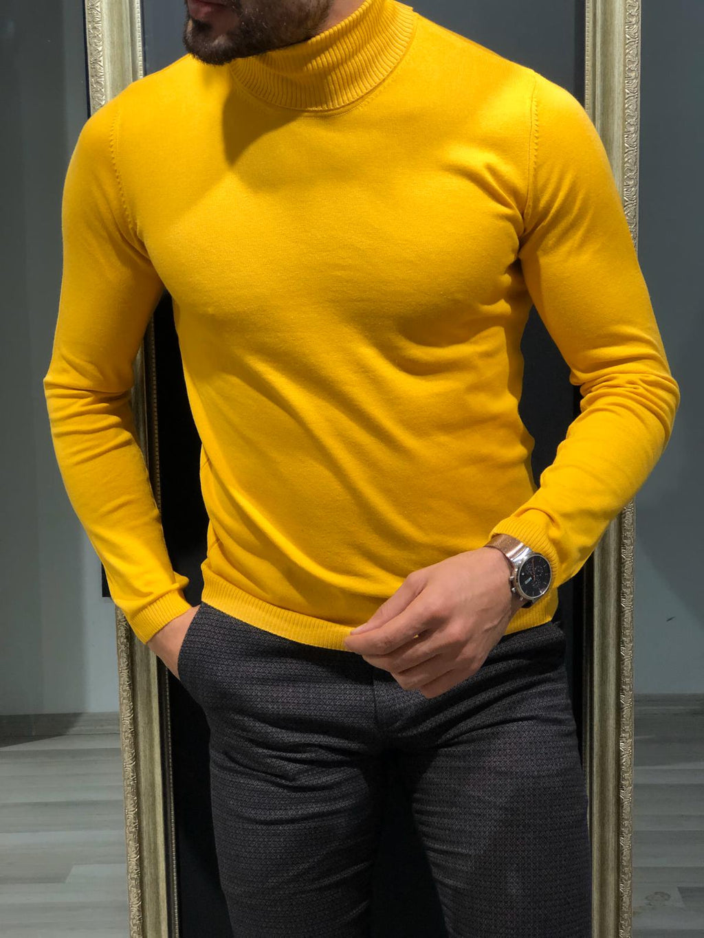 Rimini Slim-Fit Turtleneck Knitwear Yellow