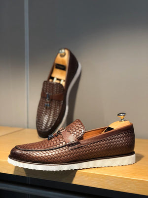 Bojoni Knitted Leather With Tassels Shoes Brown