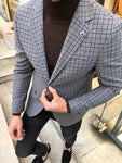 Bendi Slim-Fit Plaid Wool Jacket Gray