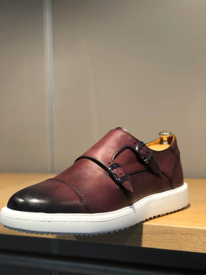 Sardinelli Eva Sole Double Buckle Monk Shoes Burgundy