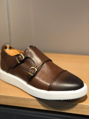 Sardinelli Eva Sole Double Buckle Monk Shoes Brown