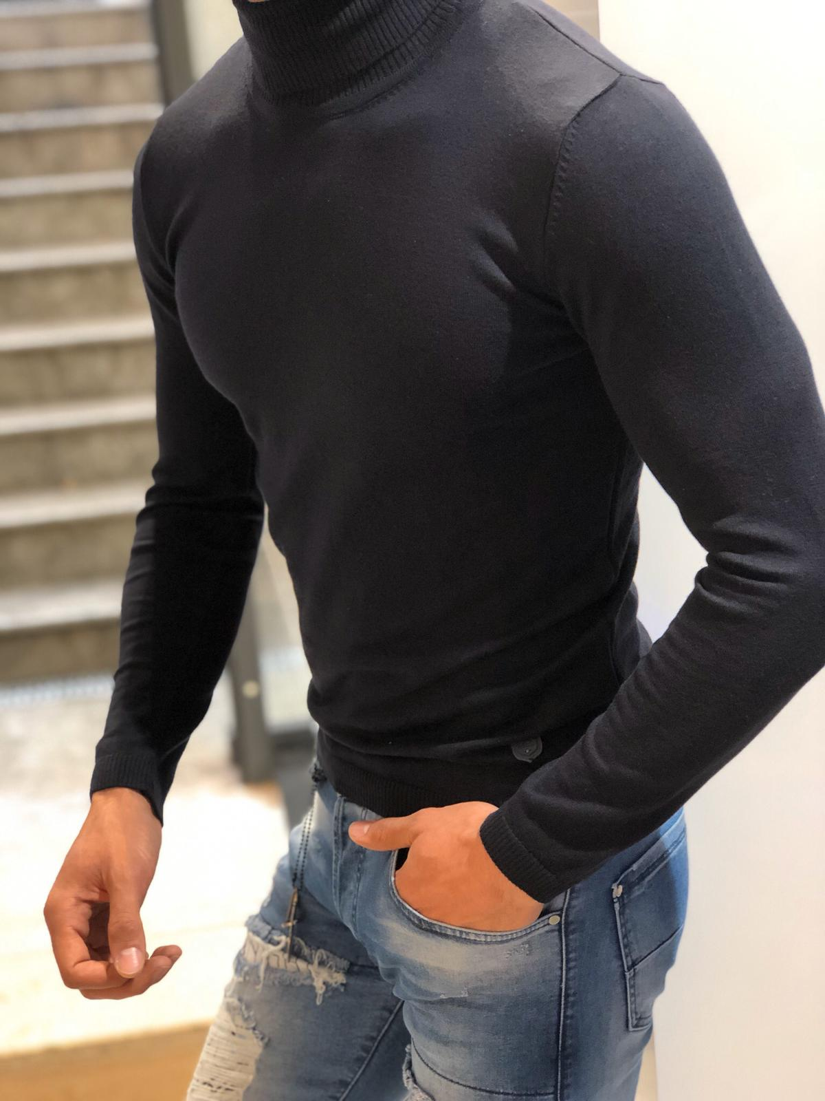 Ponto Slim-Fit Turtleneck Knitwear Dark Blue