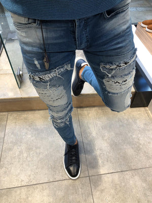 Paco Slim-Fit Ripped Jeans Blue