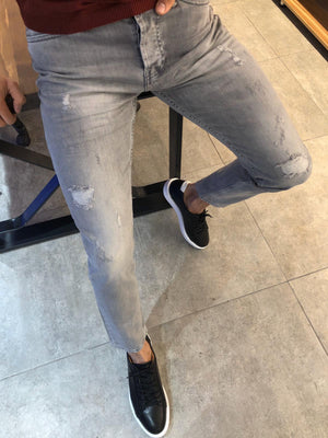 Paco Slim-Fit Ripped Jeans Gray