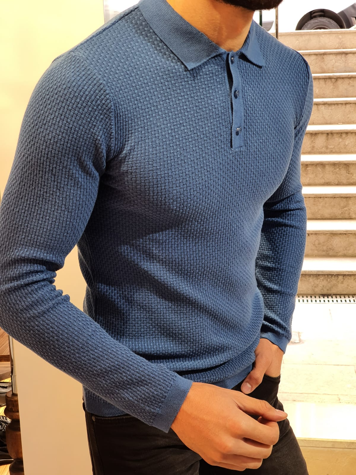 Carlos Slim-Fit Polo Sweater Blue
