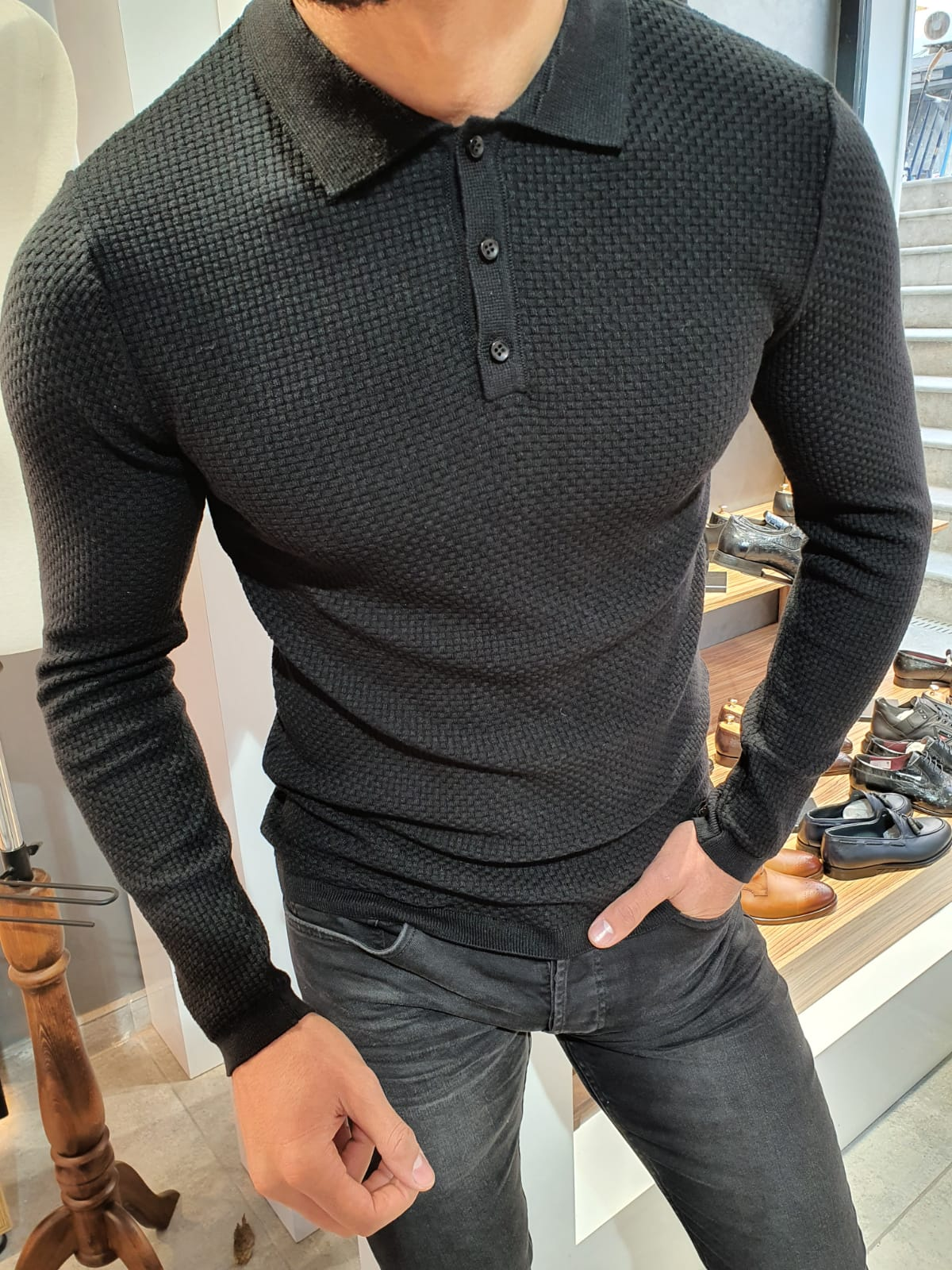 Carlos Slim-Fit Polo Sweater Black