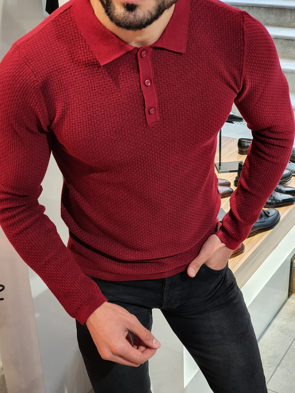 Carlos Slim-Fit Polo Sweater Red