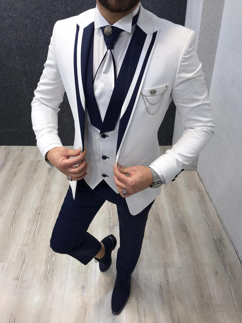 Lazio Brilliant Slim Fit White Tuxedo