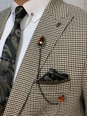 Kingston Cream  Slim Fit Plaid Suit
