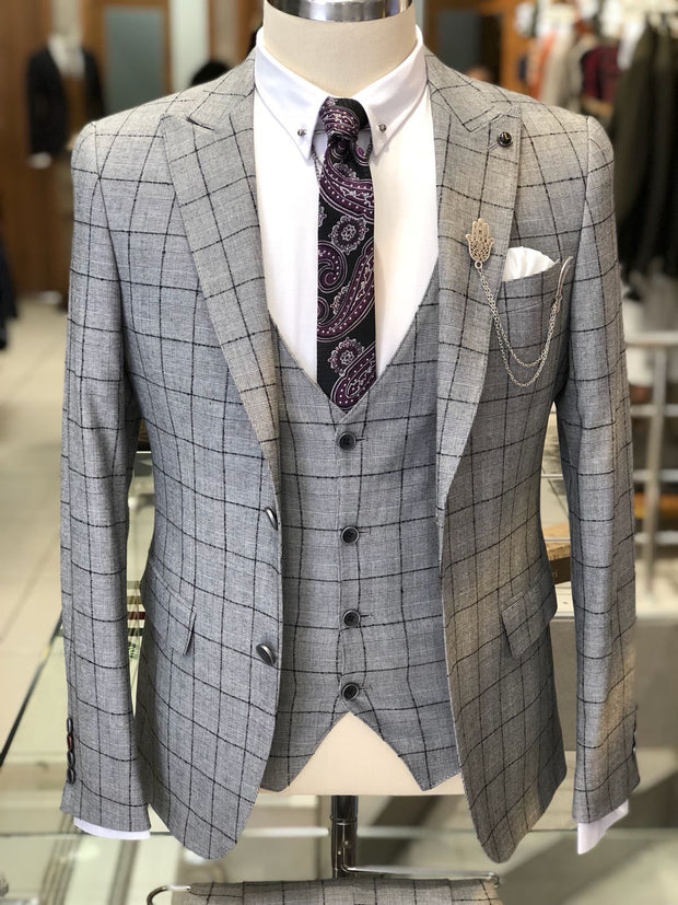Harringate Premium Slim Fit Plaid Suit