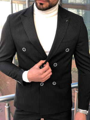 Torino Black Double Breasted Suit