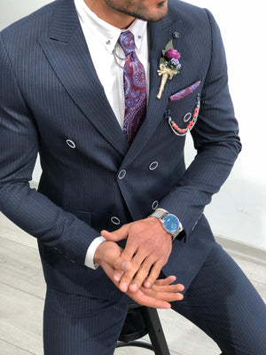 Slim-Fit Striped Double Breasted Suit