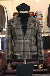 Kan Brown Checked Coat Set