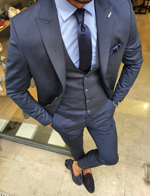 Reno Navy Blue Slim Fit Suit