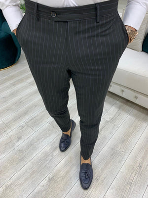 Furino Black Slim Fit Double Breasted Pinstripe Suit