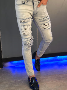 Paco Slim-Fit Ripped Jeans White