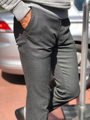 Slim-Fit Patterned Fabric Pants Black