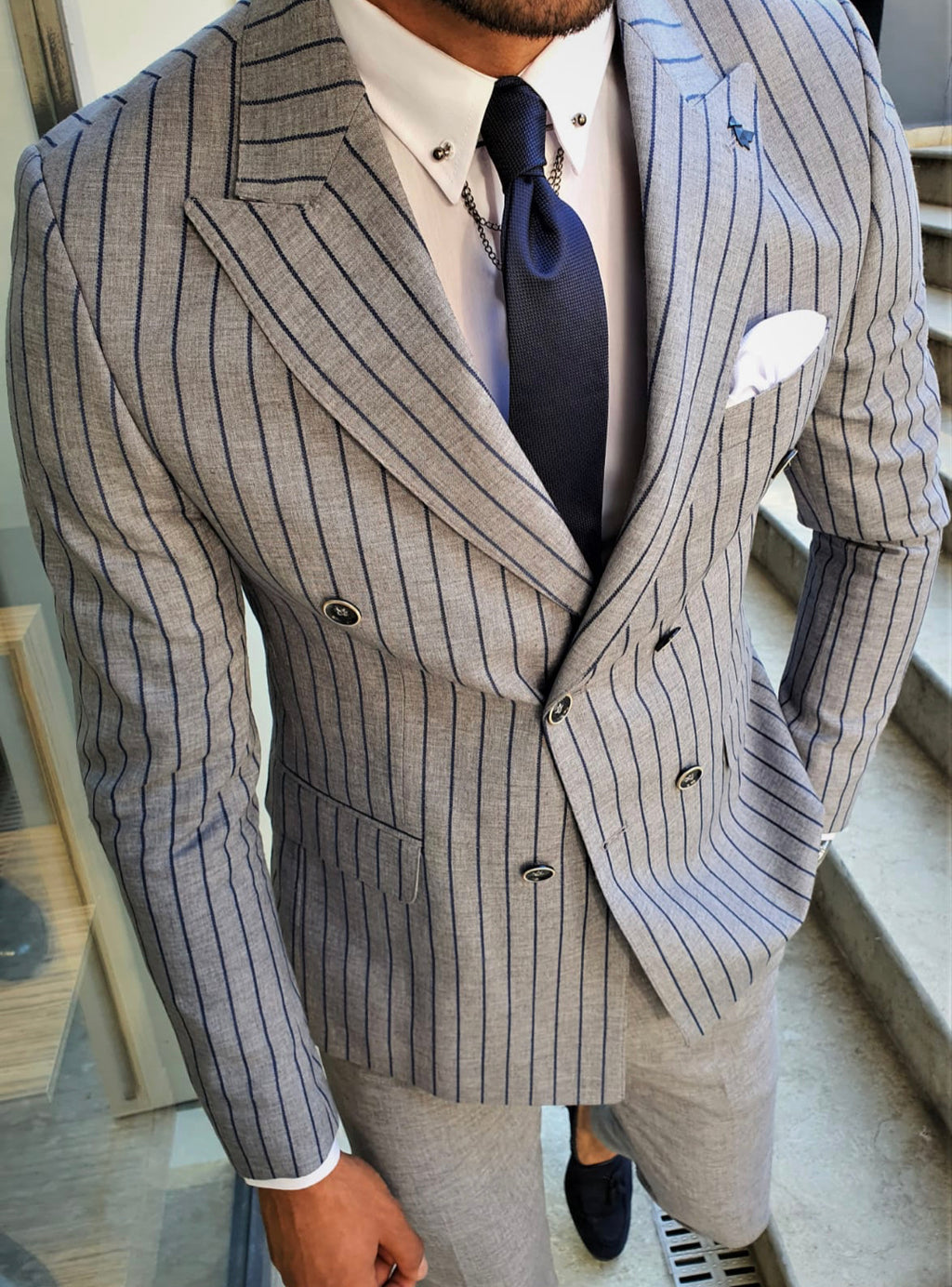 Bojoni Navy Blue Slim Fit Pinstripe Double Breasted Suit