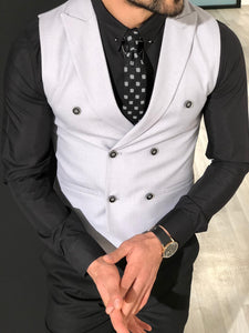 Slim-Fit Double  Breasted Vest Gray