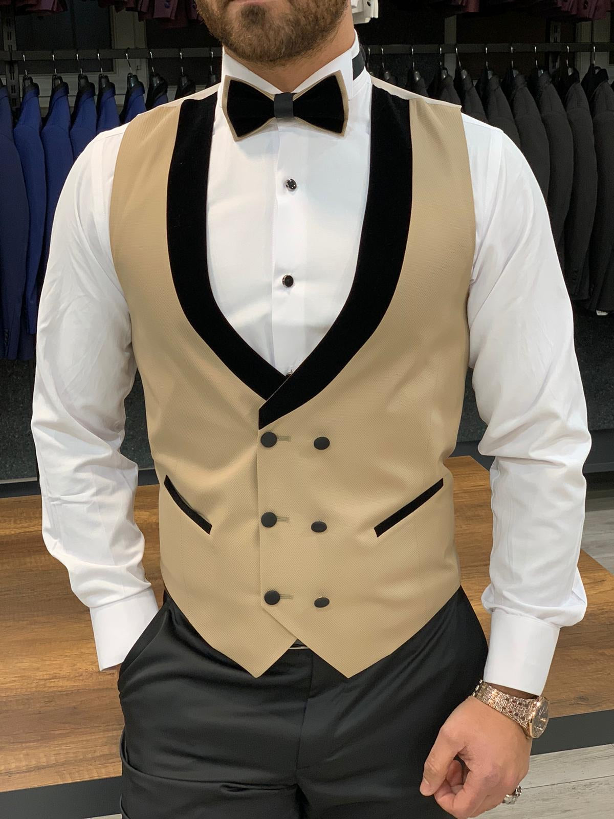 Paruri Royal Slim Fit Gold Tuxedo