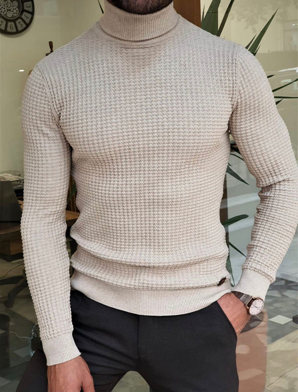 Turino Beige Slim Fit Turtleneck Sweater