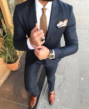 Davis Blue Slim-Fit Suit